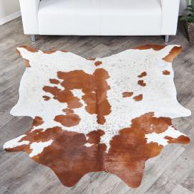 Brown White Genuine Cowhide Rug