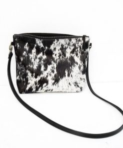 Black White Real Cowhide Handbag