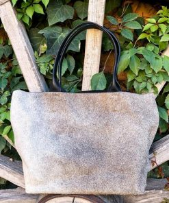 Grey Beige Real Cowhide Hand Bag For Women