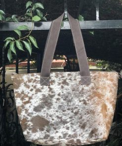 Brown Dot Real Cowhide Hand Bag