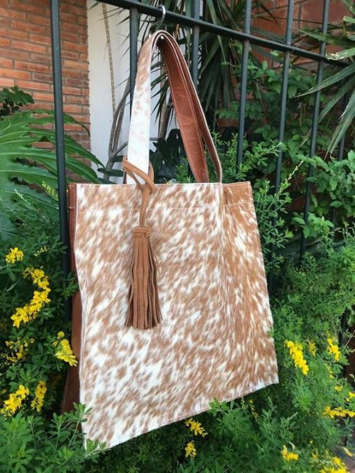 Brown & White Real Cowhide Hand Bag