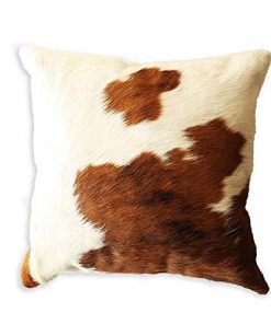 Brown White Real Cowhide Cushion Cover 16x16