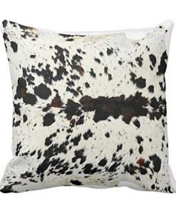 Black & White Real Cowhide Pillow Cover 16x16