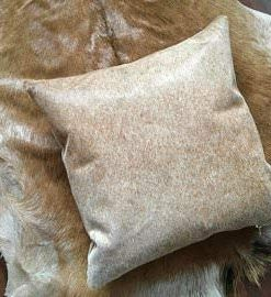 Beige & Brown Real Cowhide Cushion Cover 16x16