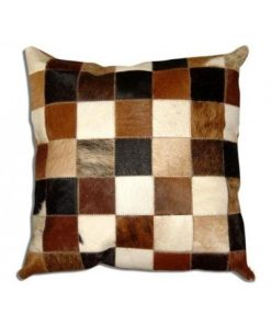 Real Cowhide Patchwork Pillow Cover 16x16
