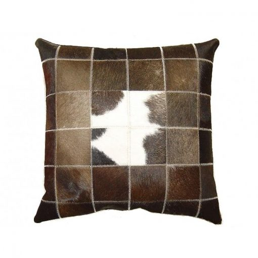 Real Cowhide Patchwork Cushion Cover 16x16