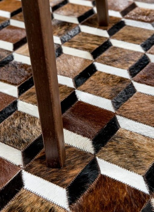 Cubic Brown | Cowhide Patchwork Rug