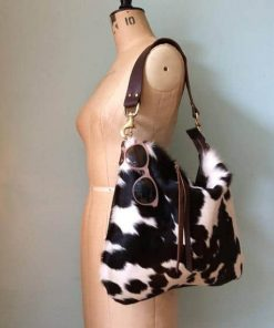 Dark Brown & White Cowhide Hand Bag