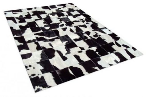 Black And White Real Cowhide Patchwork Rug