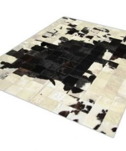Black & White Cowhide Patchwork Rug