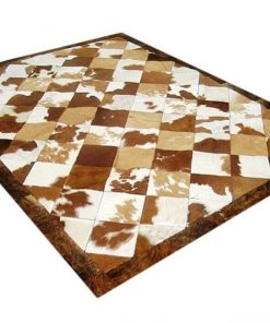 Brown And White Real Cowhide Patchwork Rug
