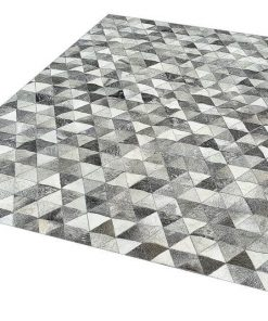 Real Grey Cowhide Patchwork Rug