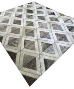 Genuine Grey Cowhide Patchwork Rug