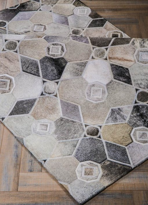 Grey Antique Cowhide Patchwork Rug