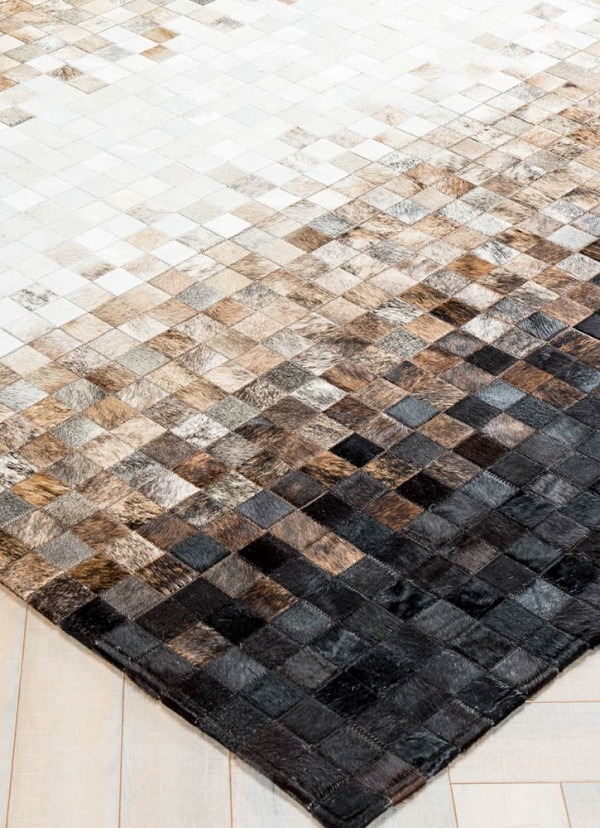 Multi Color Area Cowhide Patchwork Rug