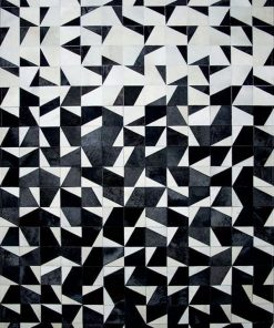 Black and White Cowhide Patchwork Rug
