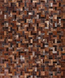 Multi & Brown Cowhide Patchwork Rug
