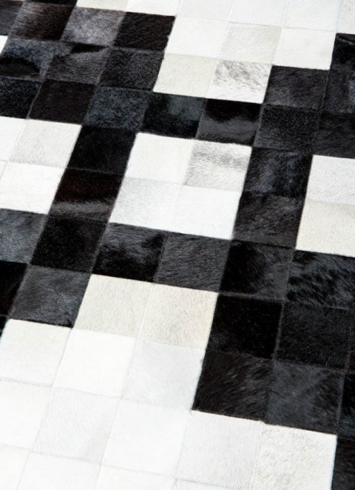 Geometric Black White Patchwork Rug