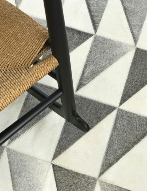 Zigzag Grey White Patchwork Rug