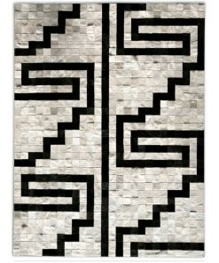Black and White Patchwork Rug