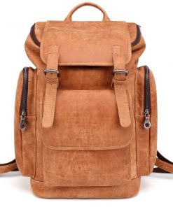 Suede Leather Laptop Backpack